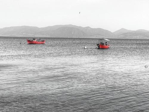 boat sea red evia greece