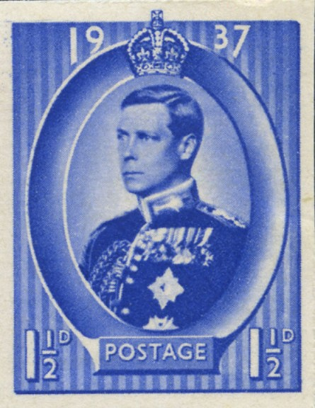 1 1/2-penny ultramarine essay for unissued Edward VIII Coronation issue planned for May 1937