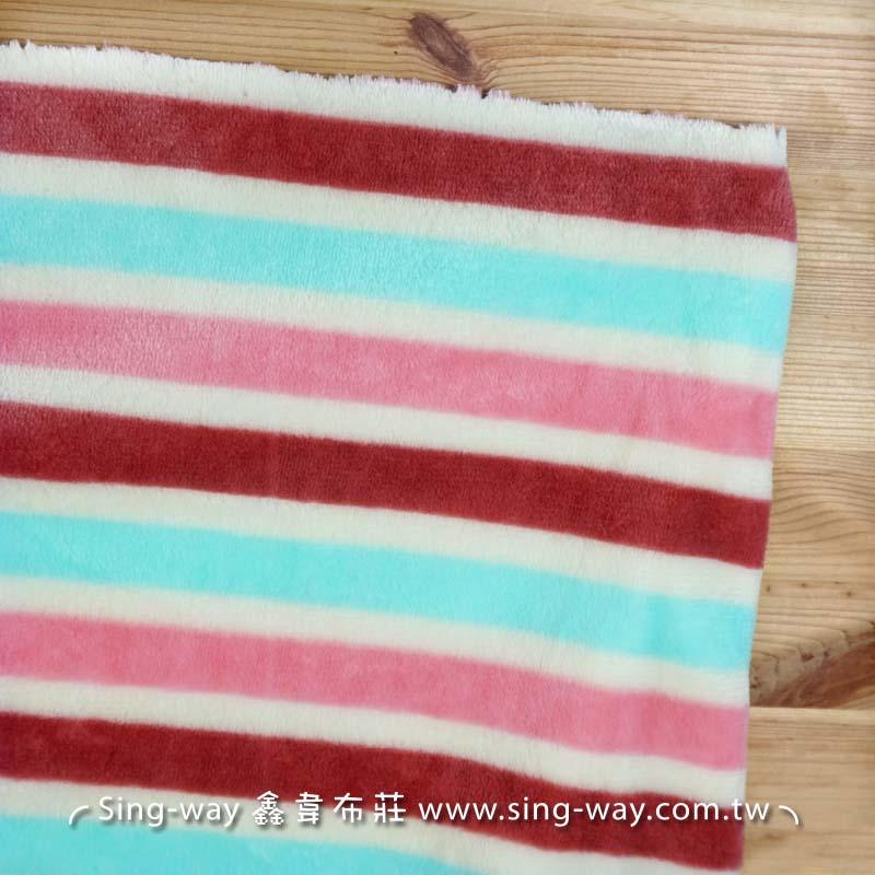 【限宅配】 藍粉紅條紋法蘭絨 寢具 衣物 嬰兒毛毯肚圍背心 冷氣毯 睡衣睡袍 玩偶 LC1590008