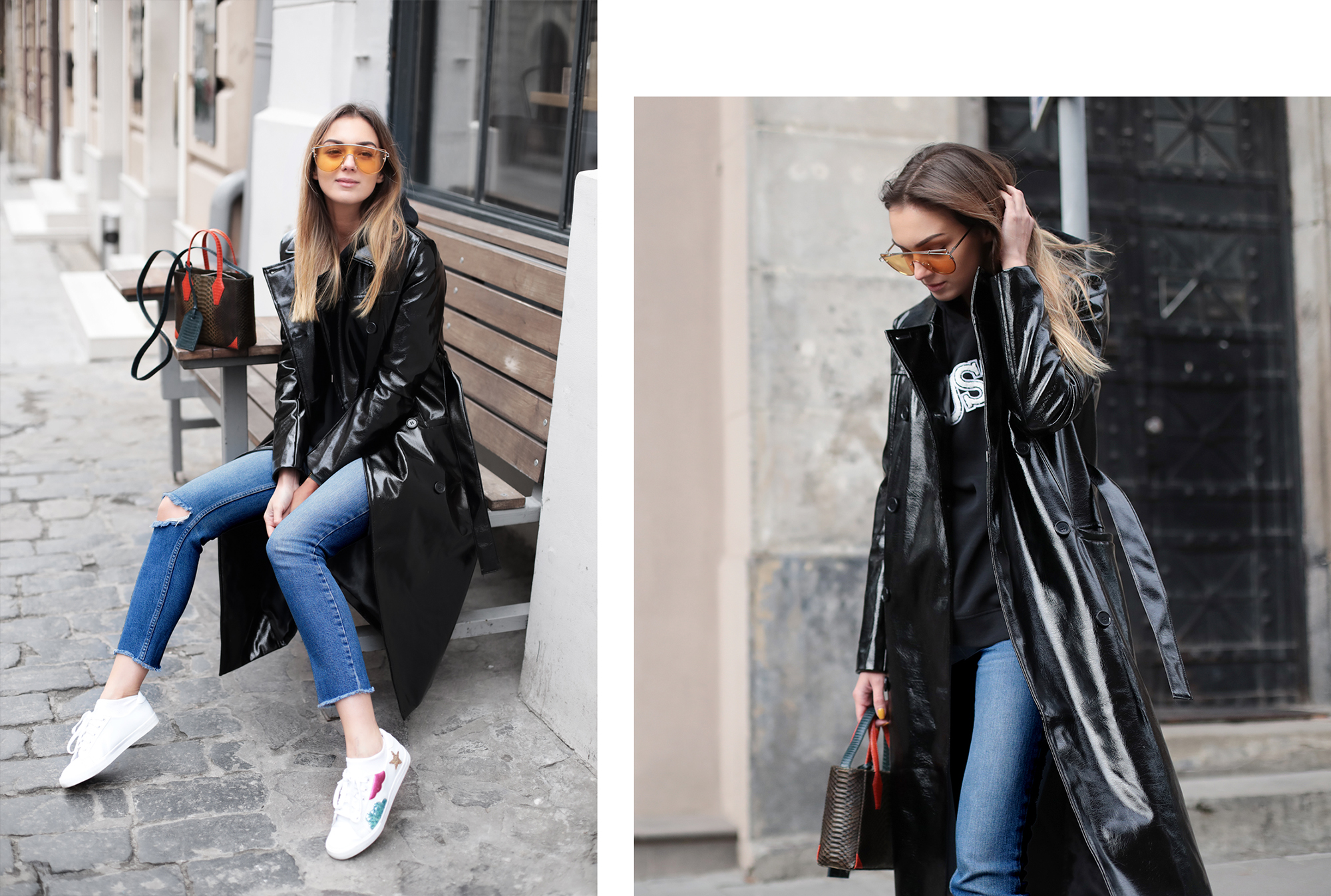 outfit-white-sneakers-black-patent-coat