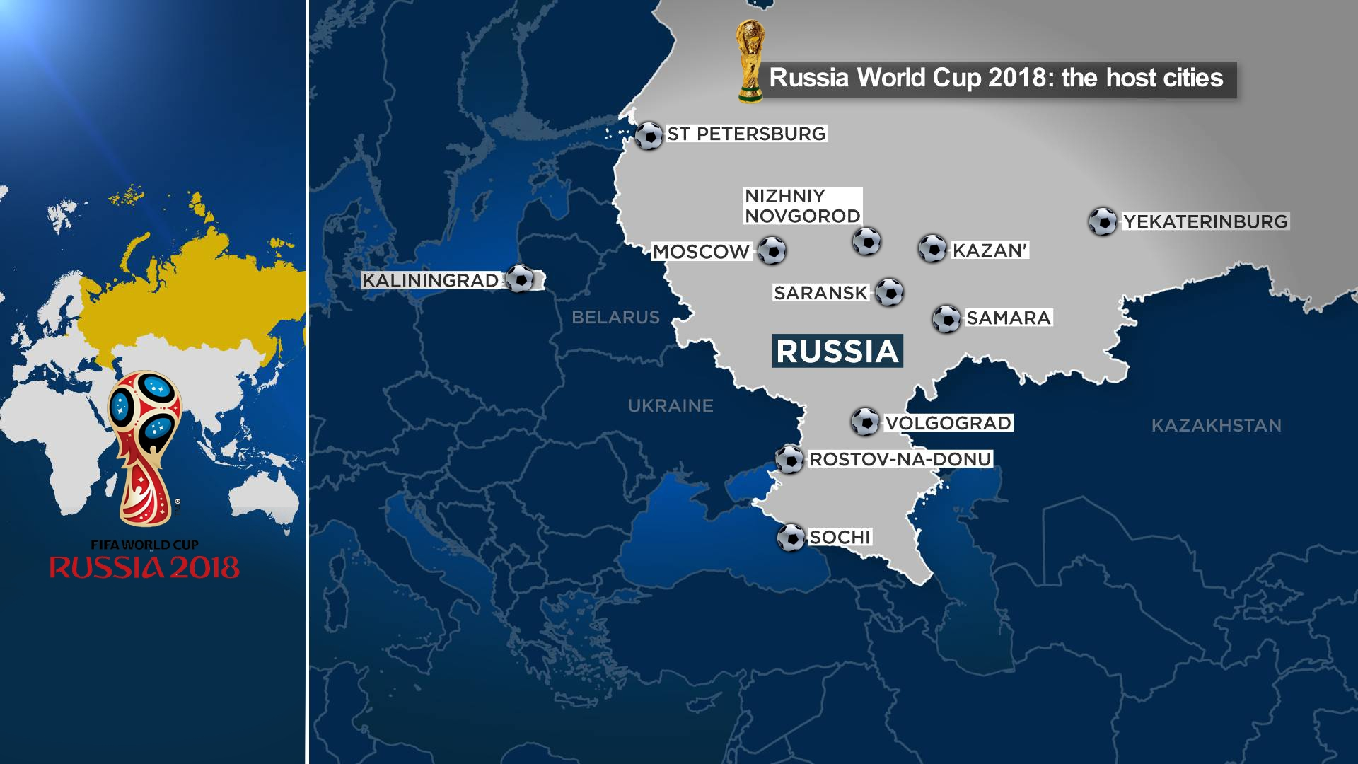 The 11 cities hosting Russia 2018 world cup