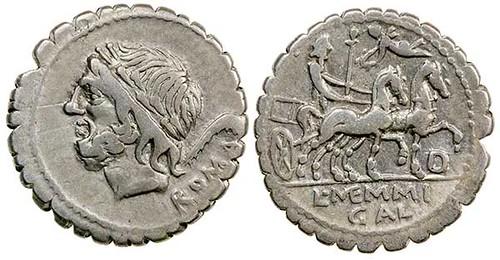 Serrrated Roman Republican Denarius of Galeria