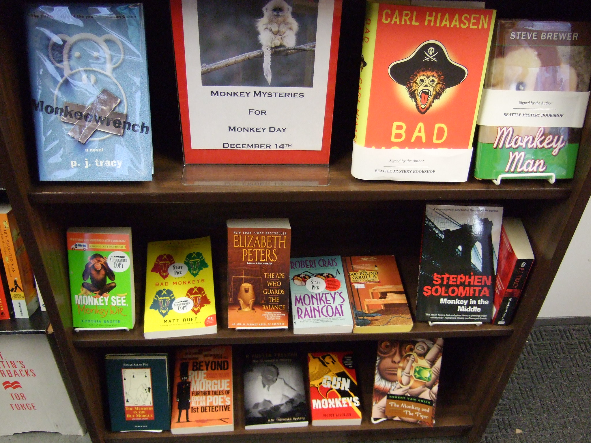 Display at the Mystery Bookshop in Seattle, Washington, on November 25, 2013.