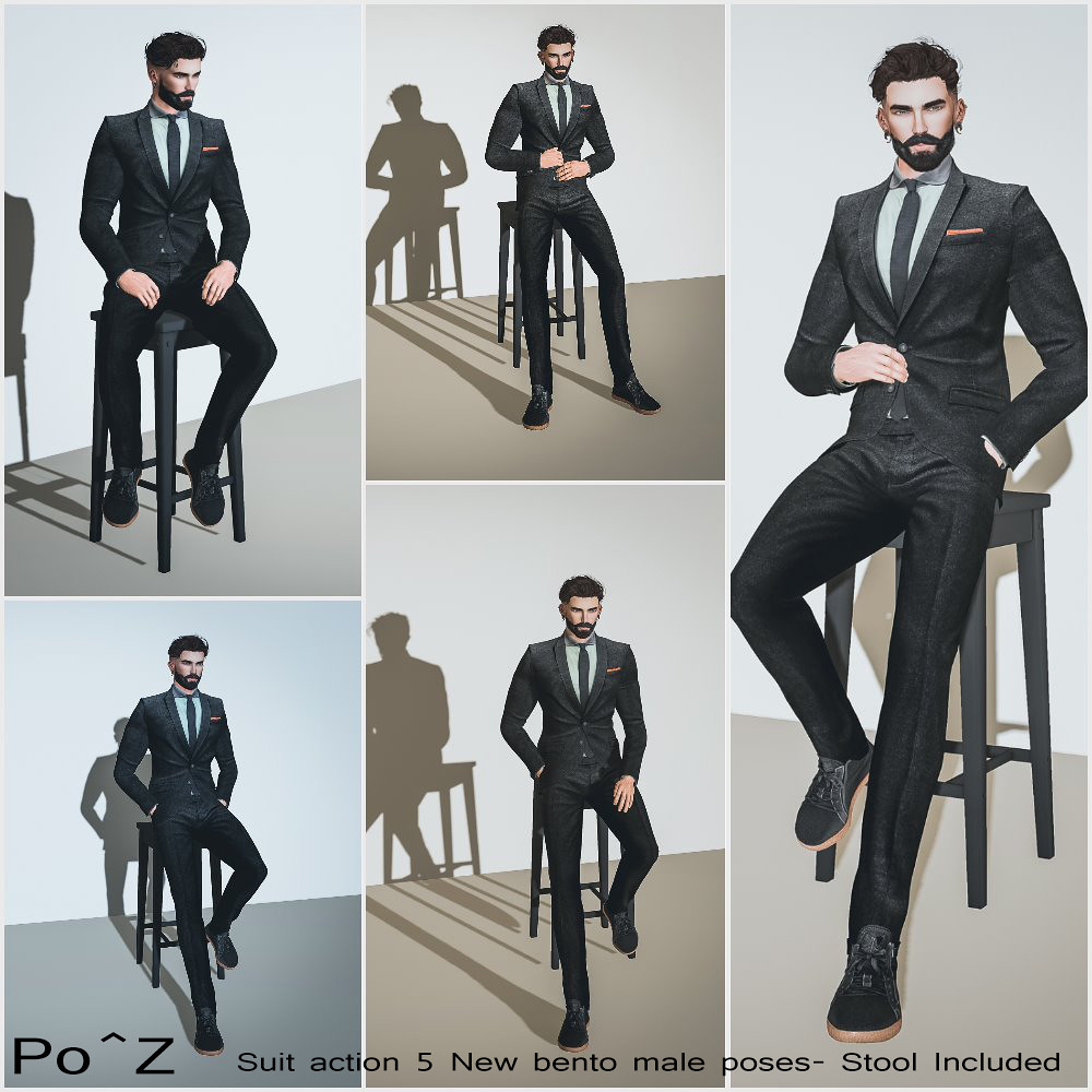 Suit action 5 NEW bento poses @ Po^Z – Stool included !