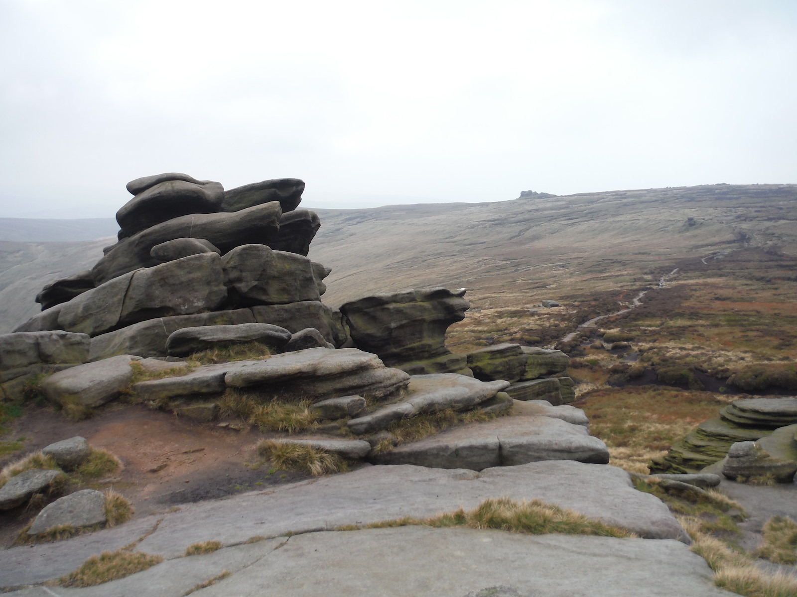 Pym Chair Rock Formation and Edale Rocks SWC Walk 303 - Edale Circular (via Kinder Scout and Mam Tor)