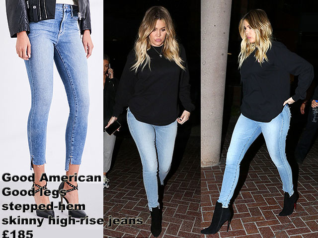 Good-American-Good-legs-stepped-hem-skinny-high-rise-jeans, black loose fit sweater, black killer heels, Good American Good legs stepped-hem skinny high-rise jeans, Khloe Kardashian in blue Good American Good legs stepped-hem skinny high-rise jeans,