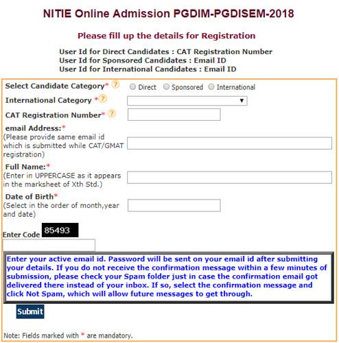 NITIE Mumbai Application Form