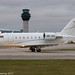 A9C-ACE - 2008 build Bombardier Challenger 605, rolling for departure on Runway 23L at Manchester