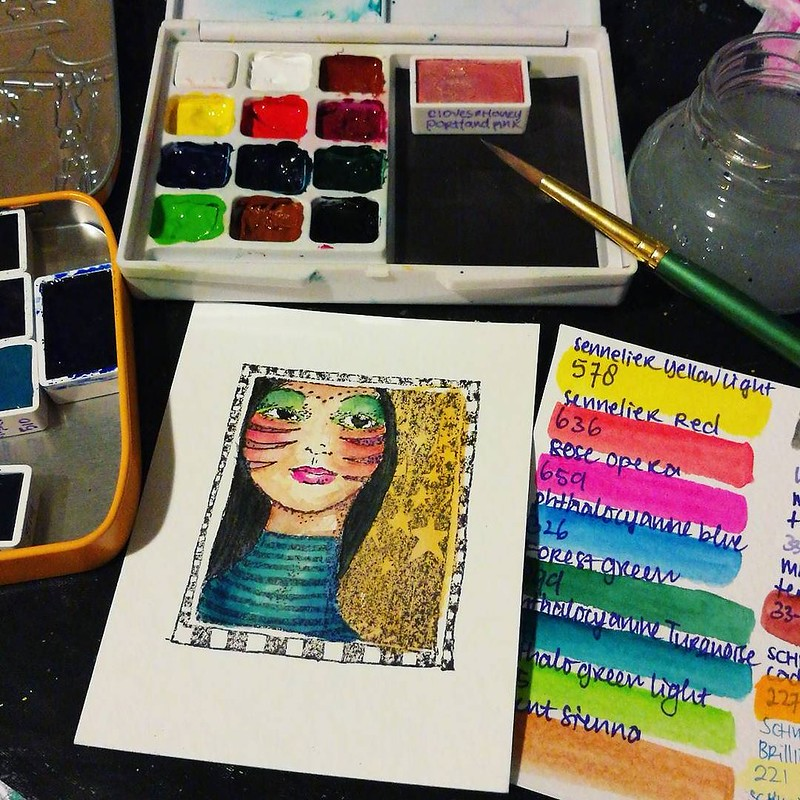 On my desk, watercolor practice = a happy relaxed saturday 😄 What are you working on to today? __________ #mailart #mailartist #mixedmediaart #mixedmedia #mixedmediaartist #artistsofinstagram #ATC #creativejourney #createeveryday #rubberstampart #ru