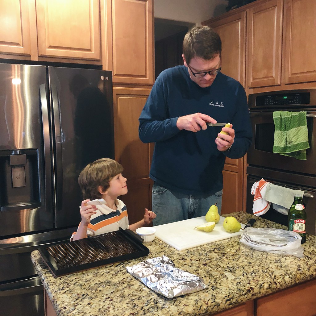 helping dad cook