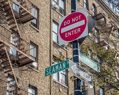 SEAMAN AV and DYCKMAN ST Street Signs, Inwood, New York City
