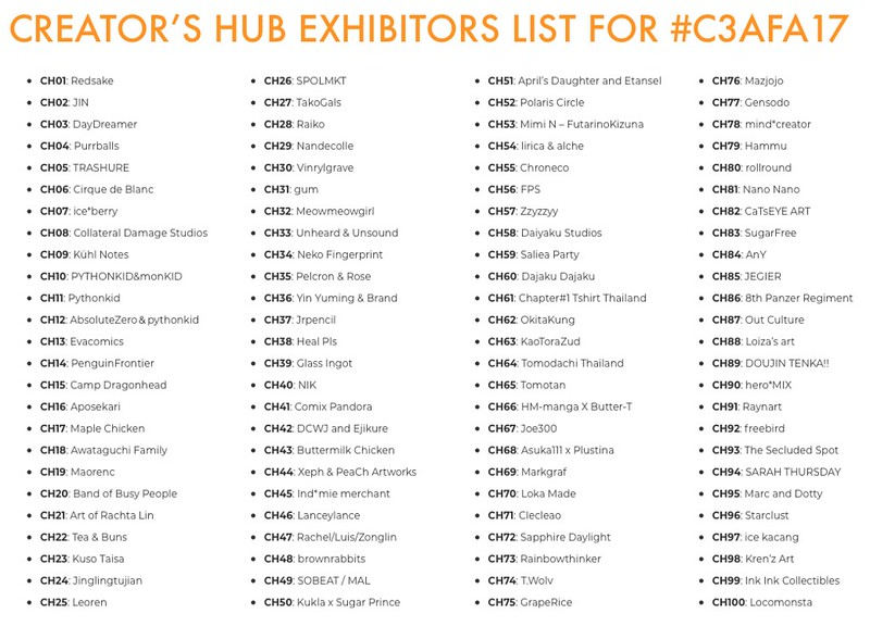 C3AFA SG 2017 CREATIRS HUB EXHIBITORS LIST