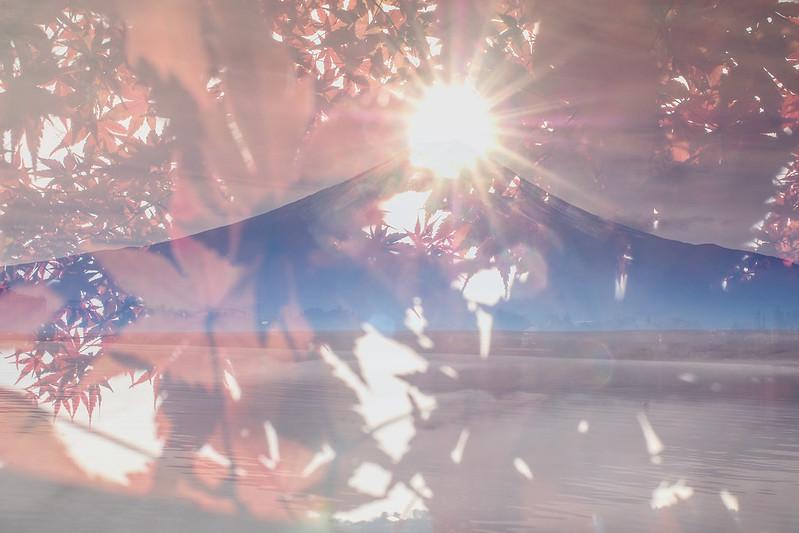 紅楓鑽石富士山|重複曝光