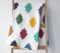Free crochet pattern: C2C pattern harlequin blanket
