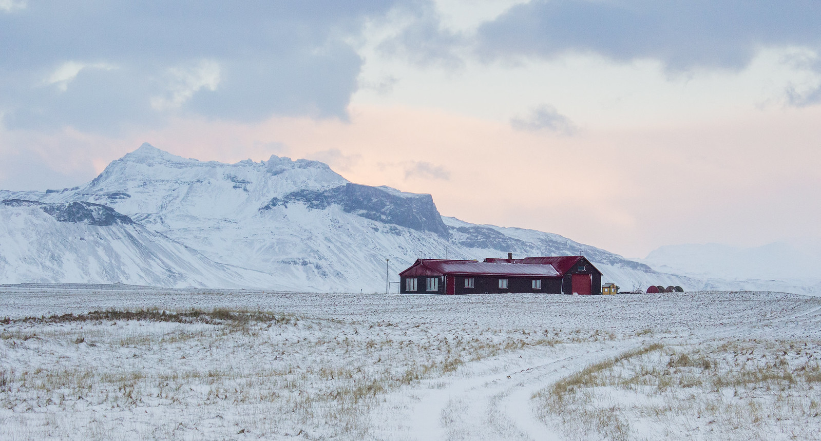 A red house/barn in Iceland's Snaefellsnes Peninsula in December