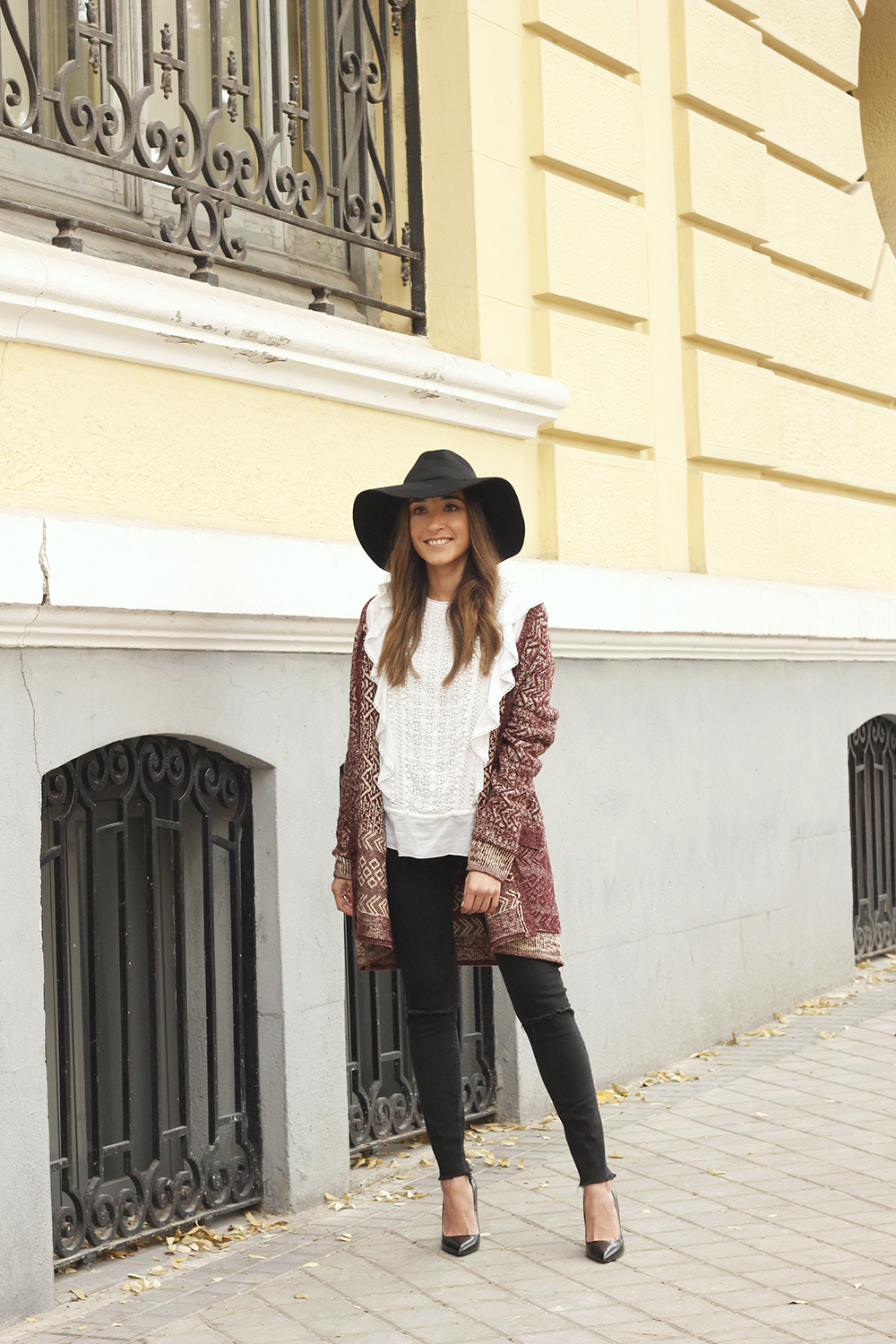 white blouse cardigan black jeans hat heels mdm fashion casual outfit01