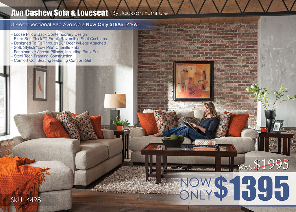Ava Cashew Living Room Set 4498