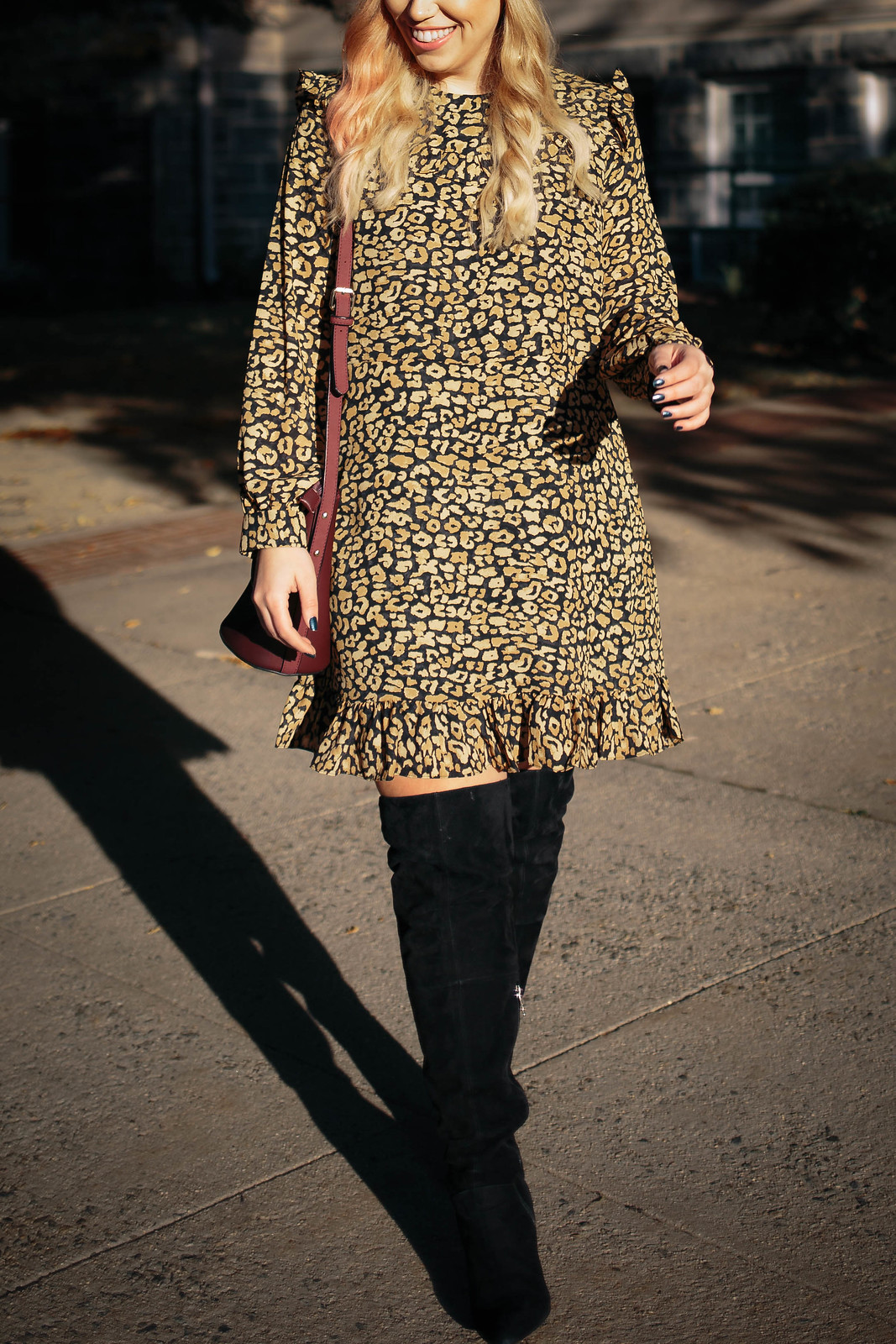 Yellow Leopard Print Ruffle Dress Fall Fashion