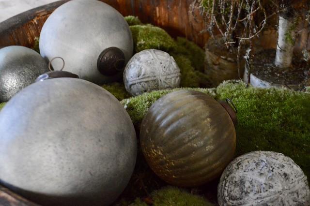 Houten schaal ballen sober kerst