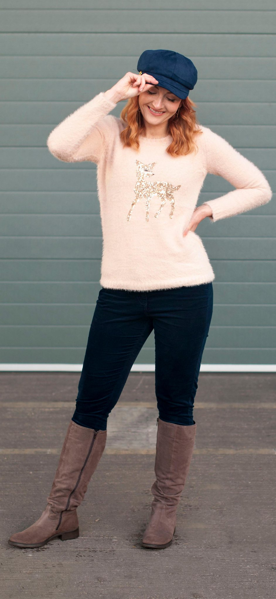 AW17 Casual Christmas party outfit: Fluffy pink sequinned reindeer sweater, navy velvet trousers, knee high boots and navy baker boy hat   Not Dressed As Lamb, over 40 style