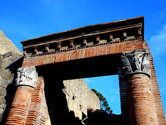 Capitals with winged Victories - House of the Great Portal at Herculaneum, buried by Vesuvius' eruption on 79 AD