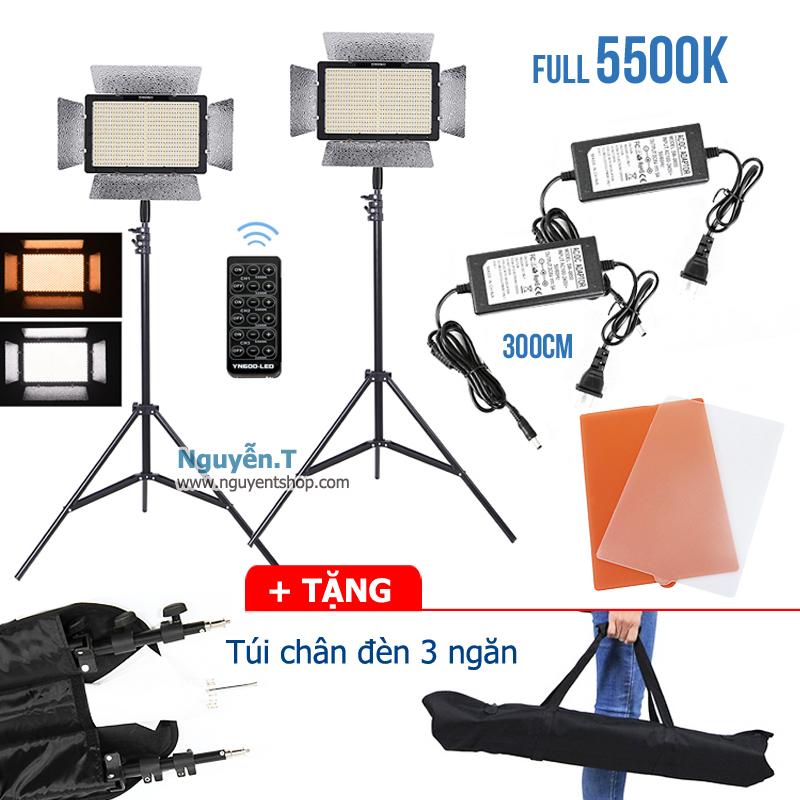 02 bộ đèn Led quay phim Yongnuo YN600L full 5500K - 02 Adapter dài 3m - 02 Chân đèn cao 2m