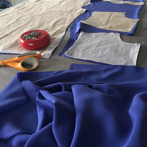 blue silk blouse Burda pattern