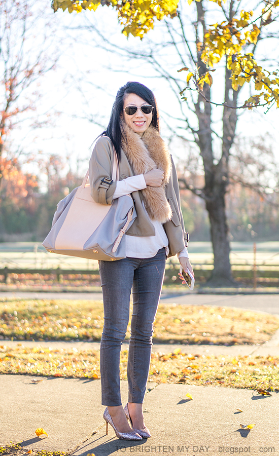faux fur scarf, camel trench cape, light pink sweater, gray skinny jeans, pink glitter pumps, beige and gray tote bag