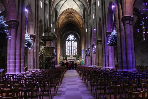 L'exposition de l'histoire de l'arbre de Noël à l'église St Georges à Sélestat.