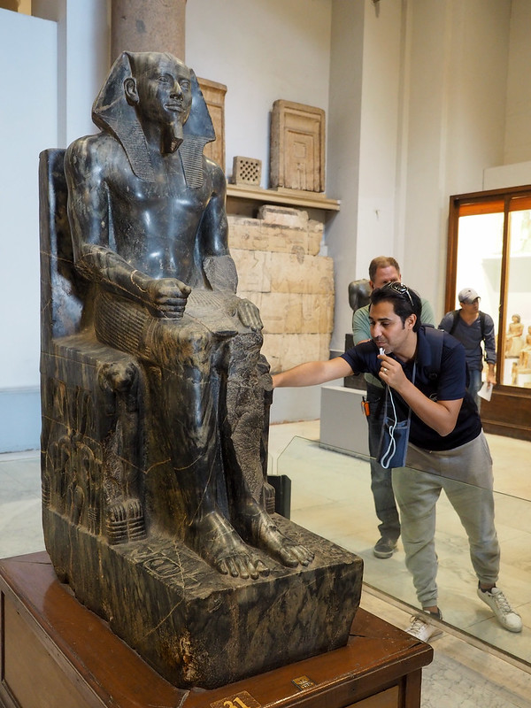 Our tour guide, Ahmed, showing us around the Egyptian Museum in Cairo