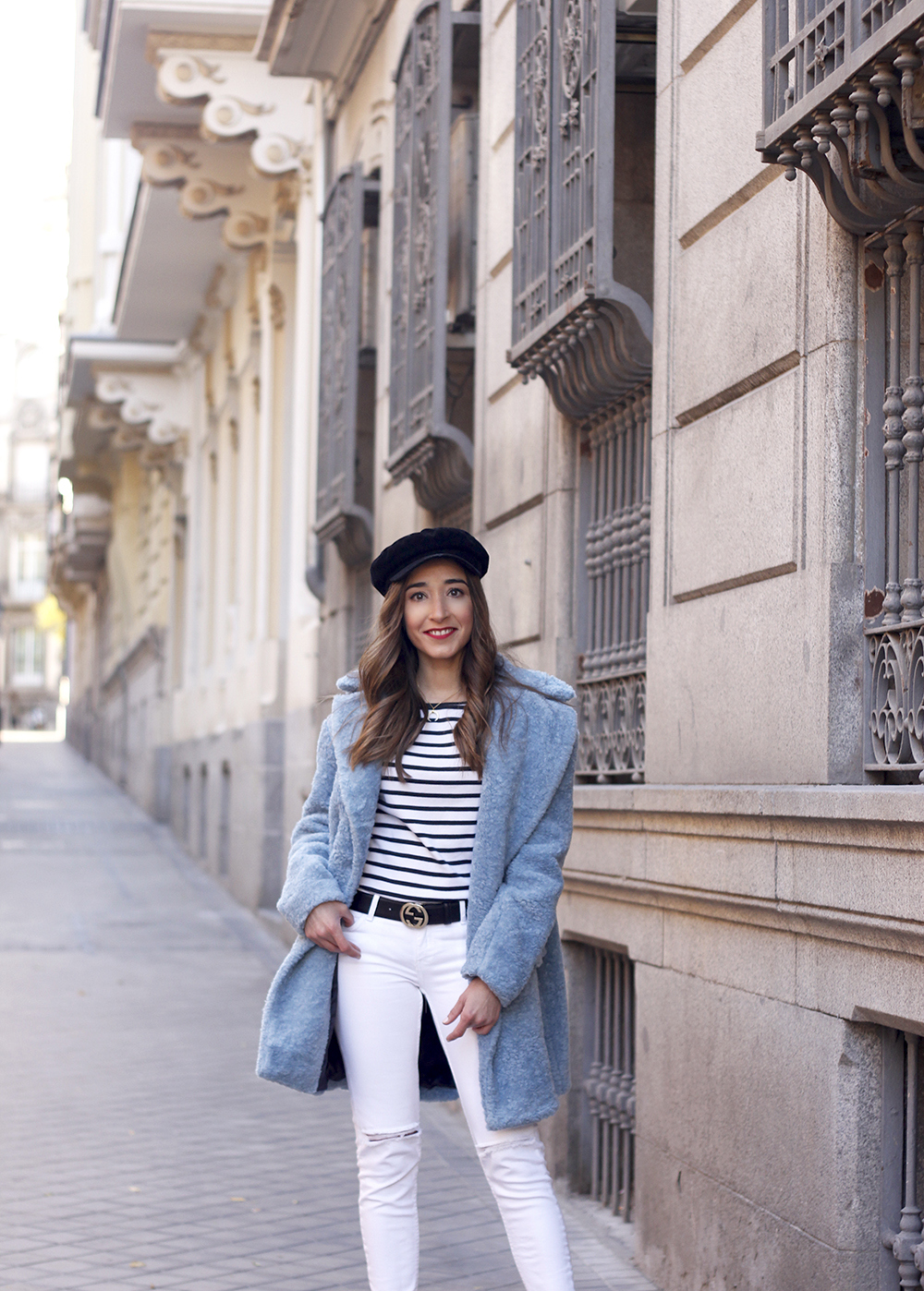 blue fur coat stripes white ripped jeans givenchy bag navy cap fall outfit street style09