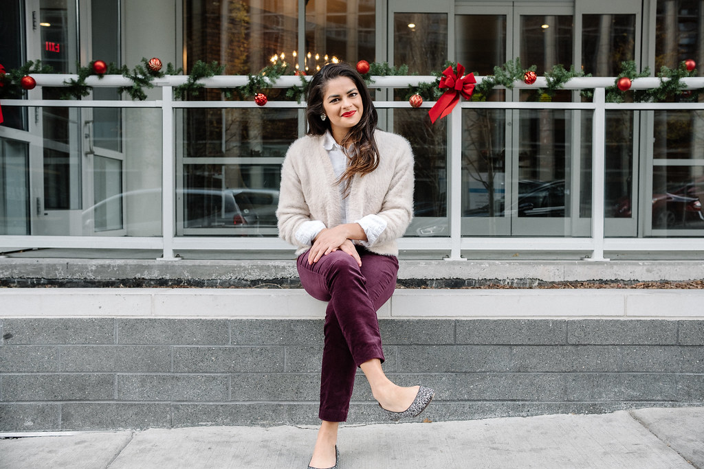 Priya the Blog, Nashville fashion blog, festive wear to work outfit, holiday inspired outfit, Christmas office outfit, purple velvet trousers, Old Navy plum velvet trousers, red lip, Stila Liquid lipstick Beso, vintage flea market earrings, fuzzy H&M cardigan
