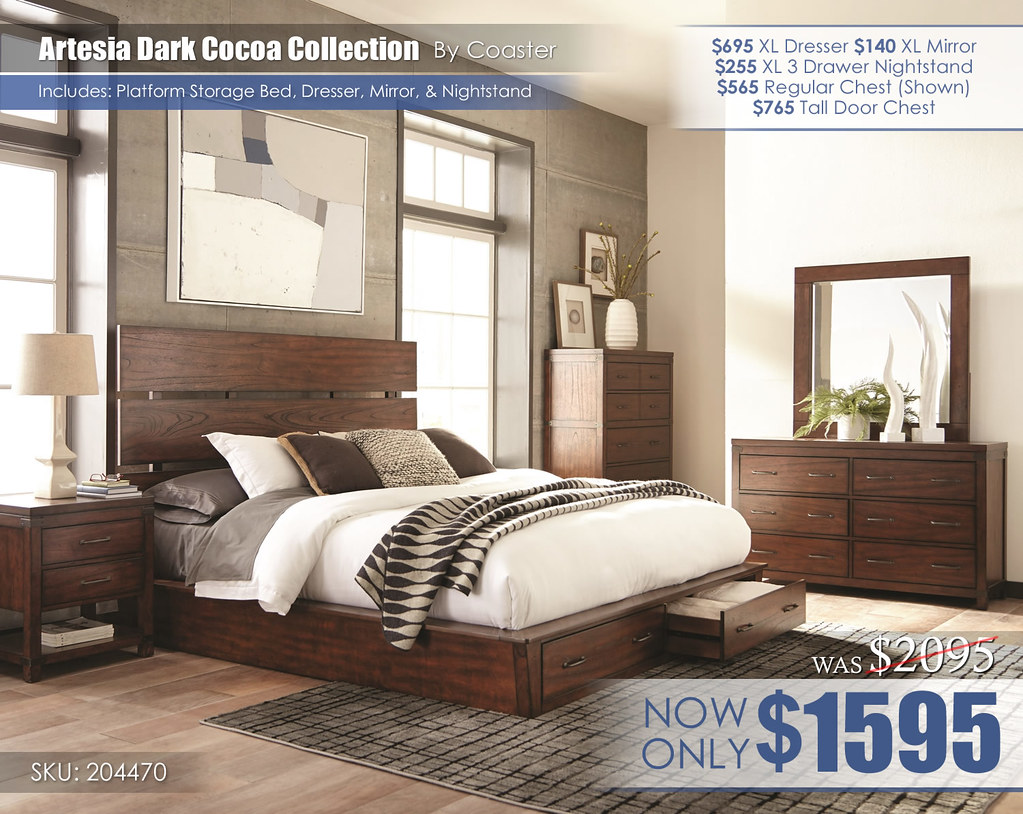 Artesia Dark Cocoa Platform Storage Bed REG Set