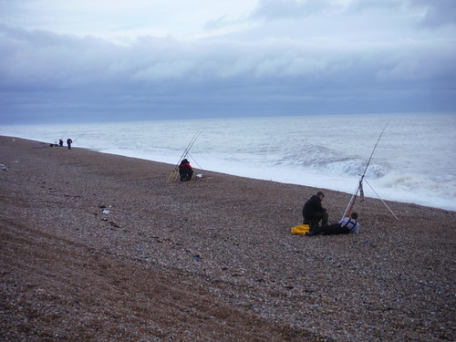 Fishing on the Shingle Beach at end of bridleway, Lookout
