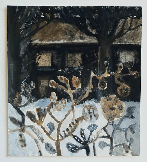 wintry cottage garden
