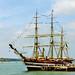 Italian sail training Ship Amerigo Vespucci at Portsmouth, 4th August 1991