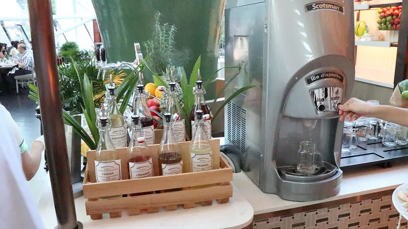 New Soda Station with homemade syrups using herbs from the garden
