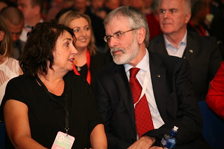 Sinn Féin President Gerry Adams TD with Bernie McGuinness at the tribute to the late Martin McGuinness.