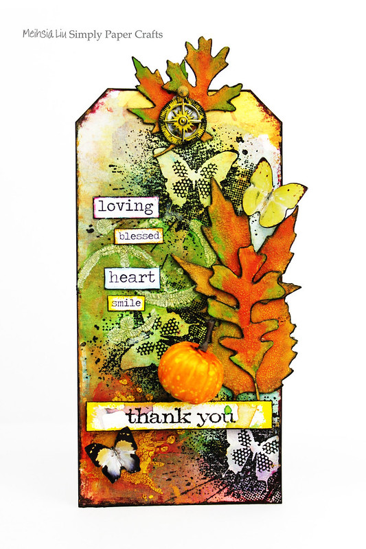 Meihsia Liu Simply Paper Crafts Mixed Media Tag Thank You IndigoBlu Simon Says Stamp Tim Holtz