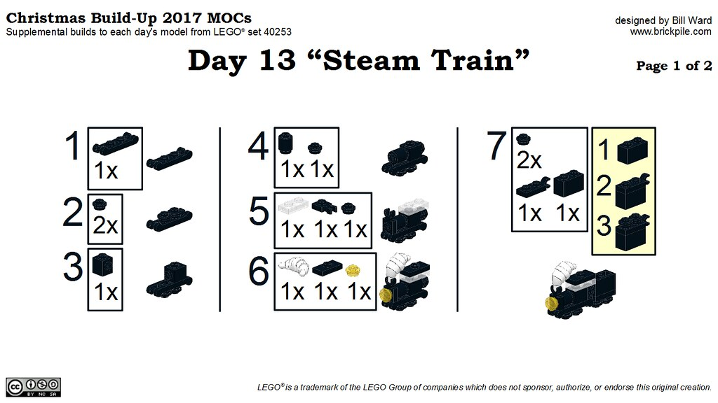 "Christmas Build-Up 2017 Day 13 MOC ""Steam Train"" Instructions p1"