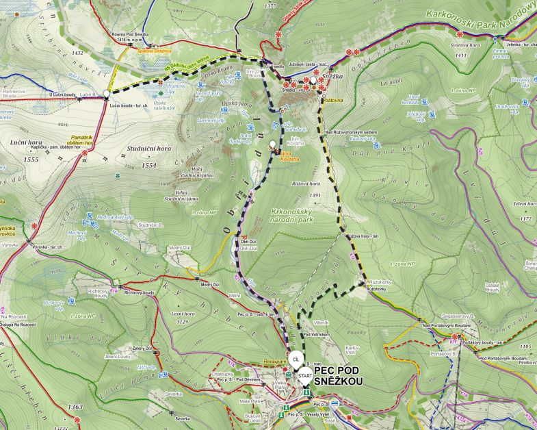 Trail map to Snezka in Krkonose mountains