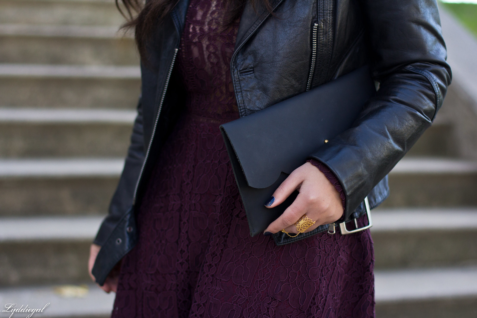 purple lace dress, black leather jacket, studded pumps-11.jpg
