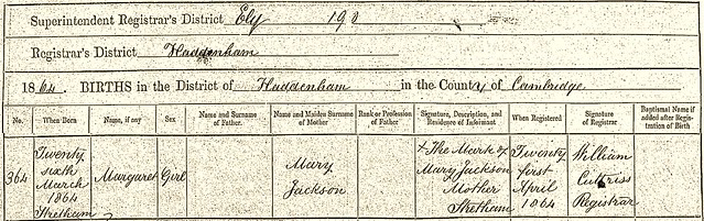 Margaret birth record