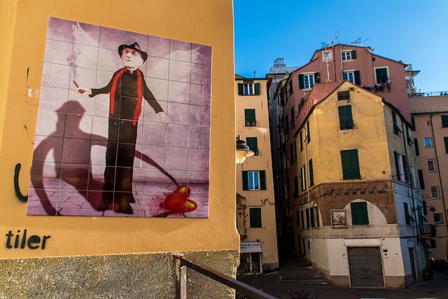 Tile art in historical Genova, Italy