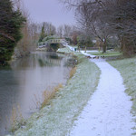 Snowy path by the canal