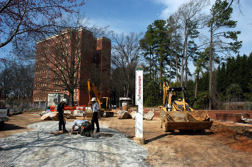 Construction on the Free Expression Tunnel near Carroll Residence Hall.