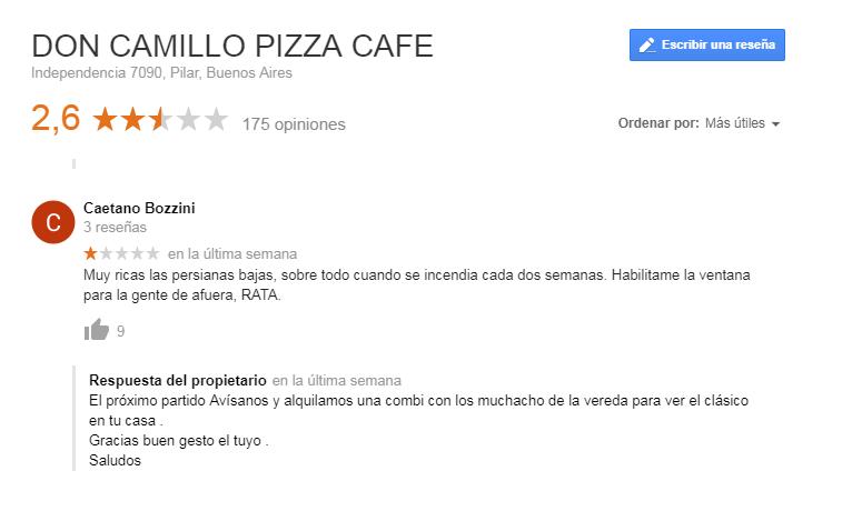 Pizzería respustas