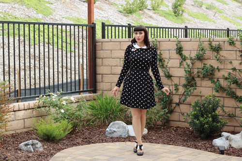 Smak Parlour Black Polka Dot Long Sleeve Dress With Collar