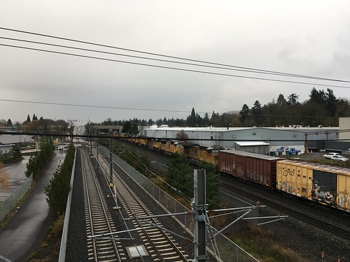 A northbound train with 10 locomotives