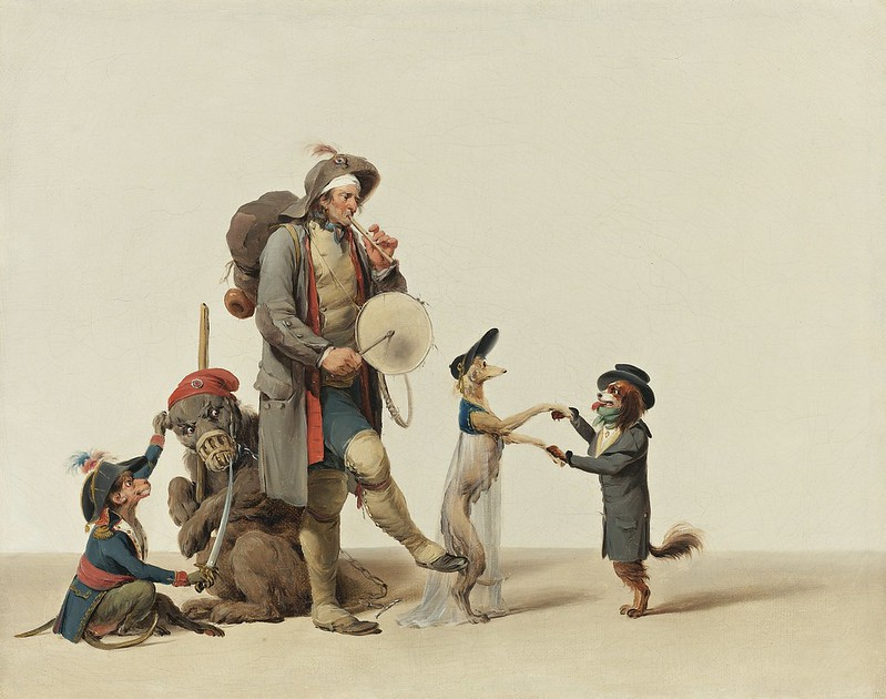 Louis-Léopold Boilly - La Piece Curieuse. An Animal Trainer With Dancing Dogs A Bear And Monkey
